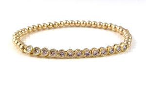 Cubic Zirconia Tennis Link Gold Bead Stretch Bracelet