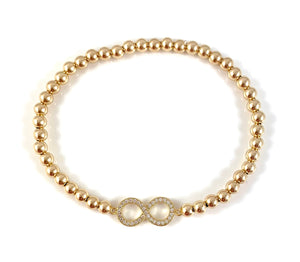 Gold Bead Stretch Bracelet Infinity Link