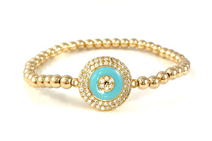 Gold Bead Stretch Bracelet Blue Enamel Evil Eye Link