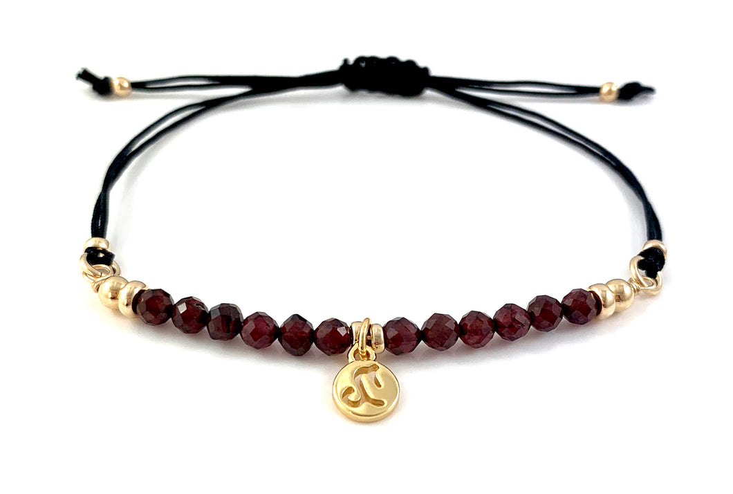 Handmade Garnet Capricorn Zodiac Charm Adjustable Black Cord Bar Bracelet