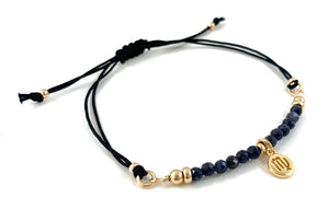 Virgo Birthstone Handmade Sapphire Zodiac Charm Adjustable Black Cord Bar Bracelet