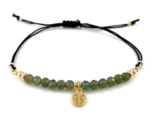 Handmade Taurus Birthstone Zodiac Charm Adjustable Black Cord Bar Bracelet