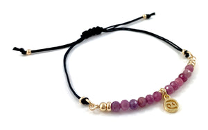 Amber Cancer Birthstone Zodiac Charm Adjustable Black Cord Bar Bracelet