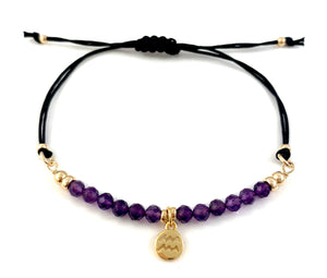 Handmade Aquarius Charm Amethyst Birthstone Adjustable Black Cord Bar Bracelet