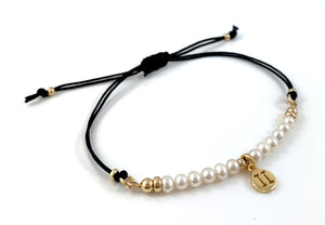 Gemini Charm Pearl Adjustable Black Cord Bracelet