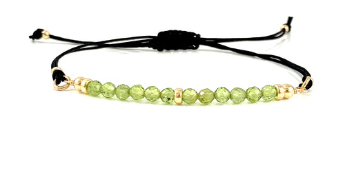 Handmade Peridot Leo Birthstone Adjustable Black Cord Gemstone Bar Bracelet
