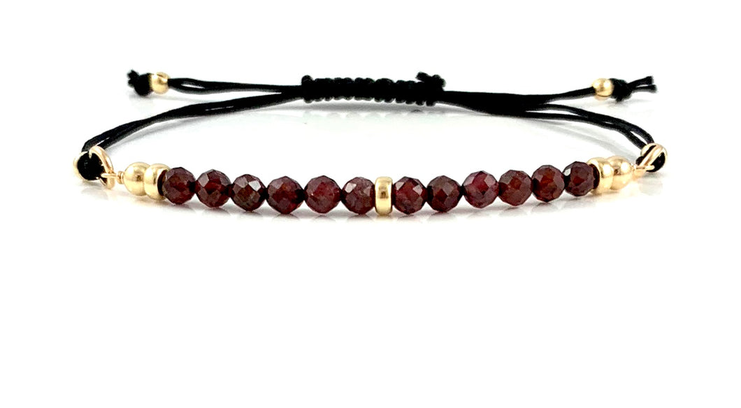 Handmade Garnet Capricorn Birthstone Adjustable Black Cord Bar Bracelet