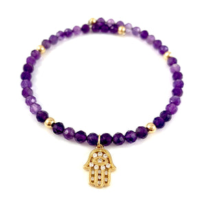 Ashley Amethyst Hamsa Charm Bangle Bracelet Aquarius Birthstone