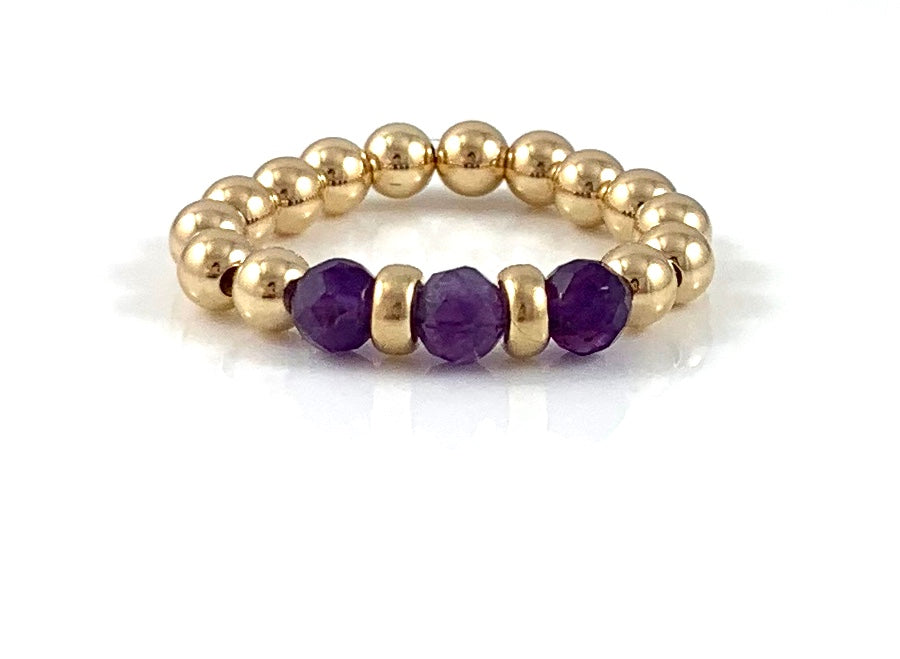 Ashley Amethyst Gold Bead Stretch Ring Aquarius Birthstone