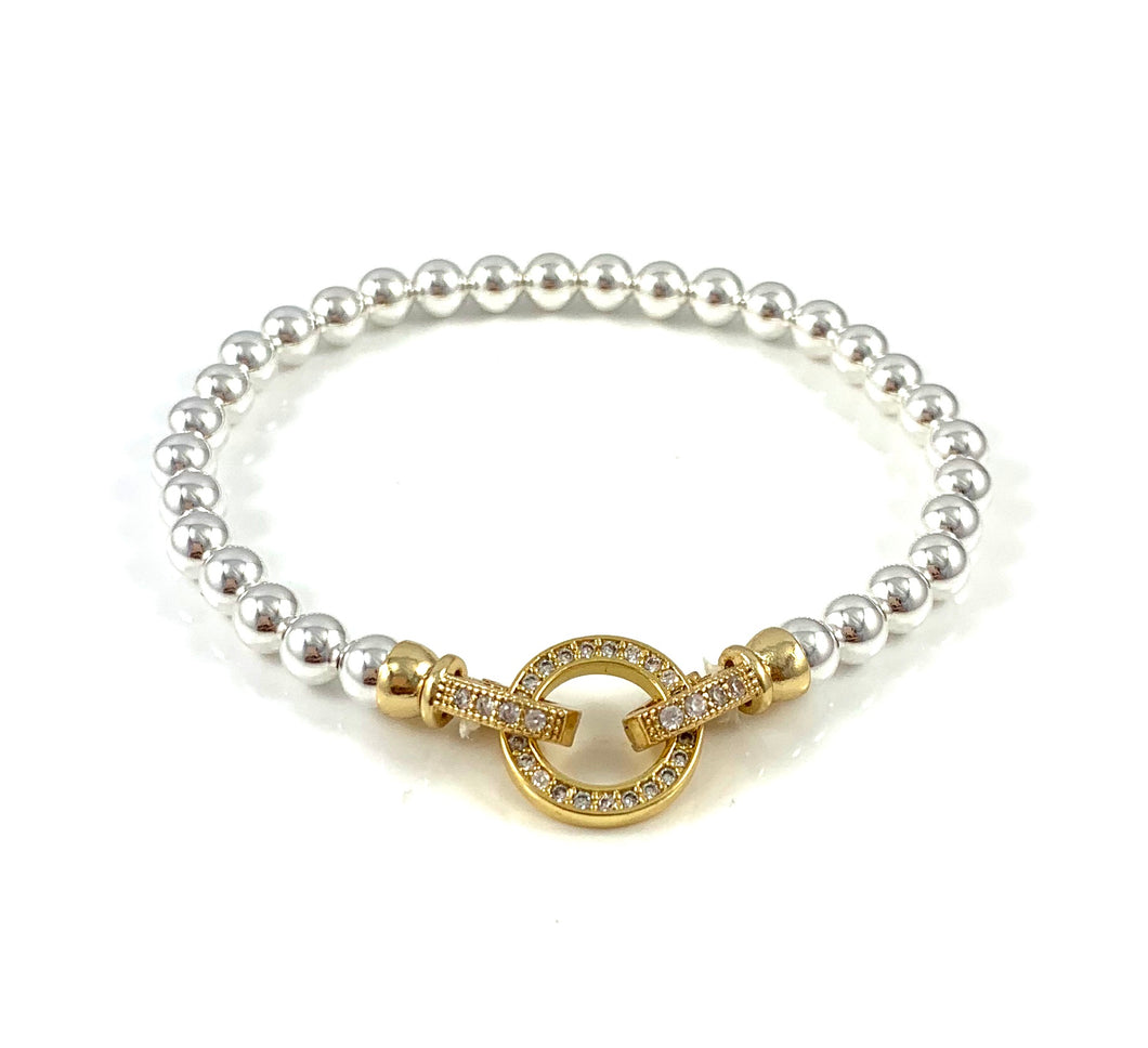 Sterling Silver and Gold CZ Clasp Bead Bracelets