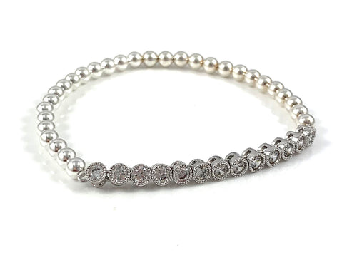 Sterling Silver Bead Stretch Tennis Link Bracelets