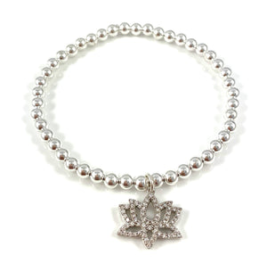 Sterling Silver Bead Lotus Charm Stretch Bracelets
