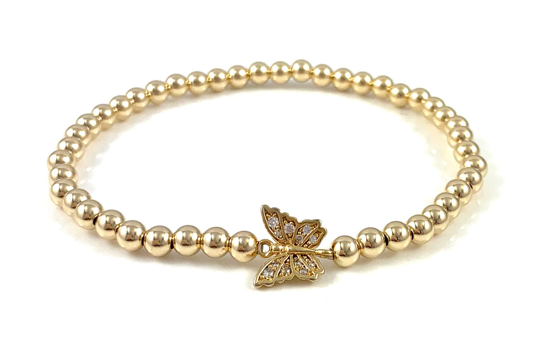 Gold Bead Stretch Bracelet Butterfly Link