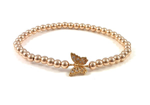 Rose Gold Bead Stretch Bracelet Butterfly Link