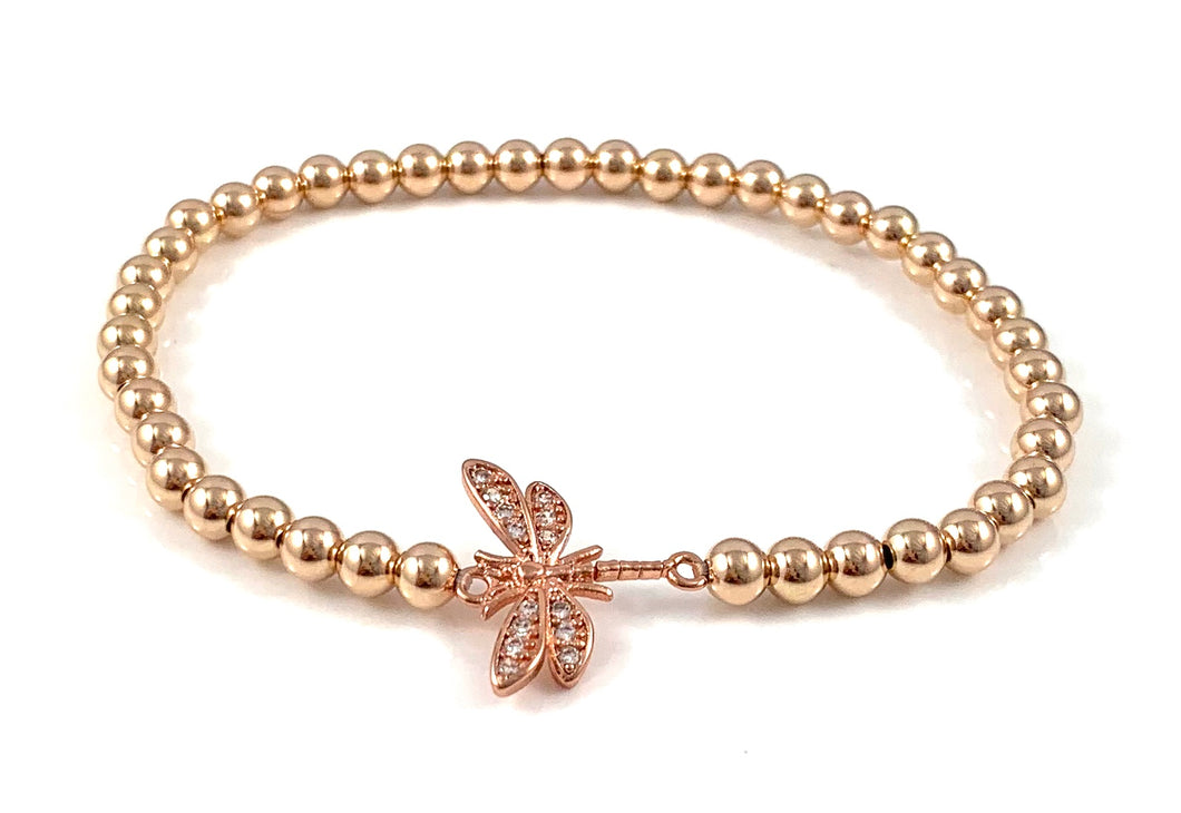 Rose Gold Bead Stretch Bracelet Dragonfly Link