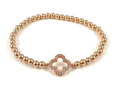 Rose Gold Bead Stretch Bracelet Clover Link