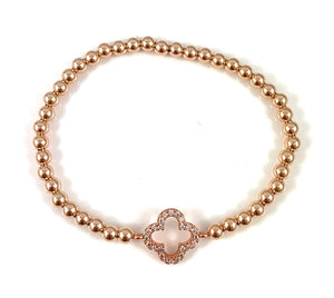 Cubic Zirconia Clover Link Rose Gold Bead Stretch Bracelet