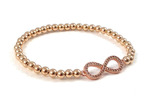 Rose Gold Bead Stretch Bracelet Infinity Link