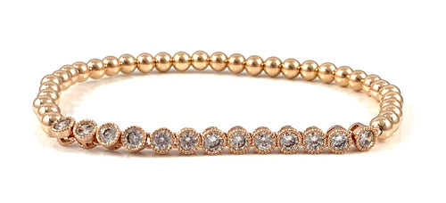 Rose Gold Bead Stretch Bracelet Tennis Link