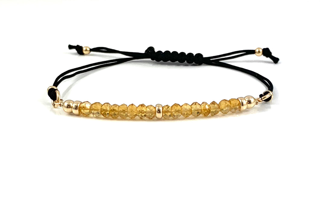 Citrine Scorpio Birthstone Adjustable Black Cord Bar Bracelet