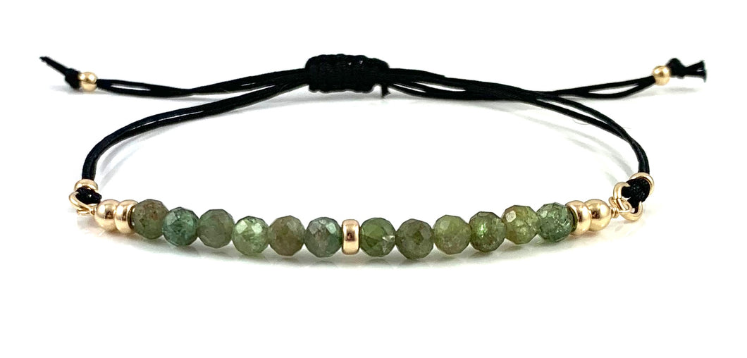 Taurus Birthstone Adjustable Black Cord Gemstone Bar Bracelet
