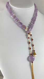 Ashley Amethyst Gold Tassel Necklace Aquarius Birthstone