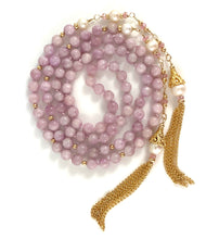 Handmade Pink Bead Lariat Tassel Necklace with Kunzite, Pink Tourmaline Pearls