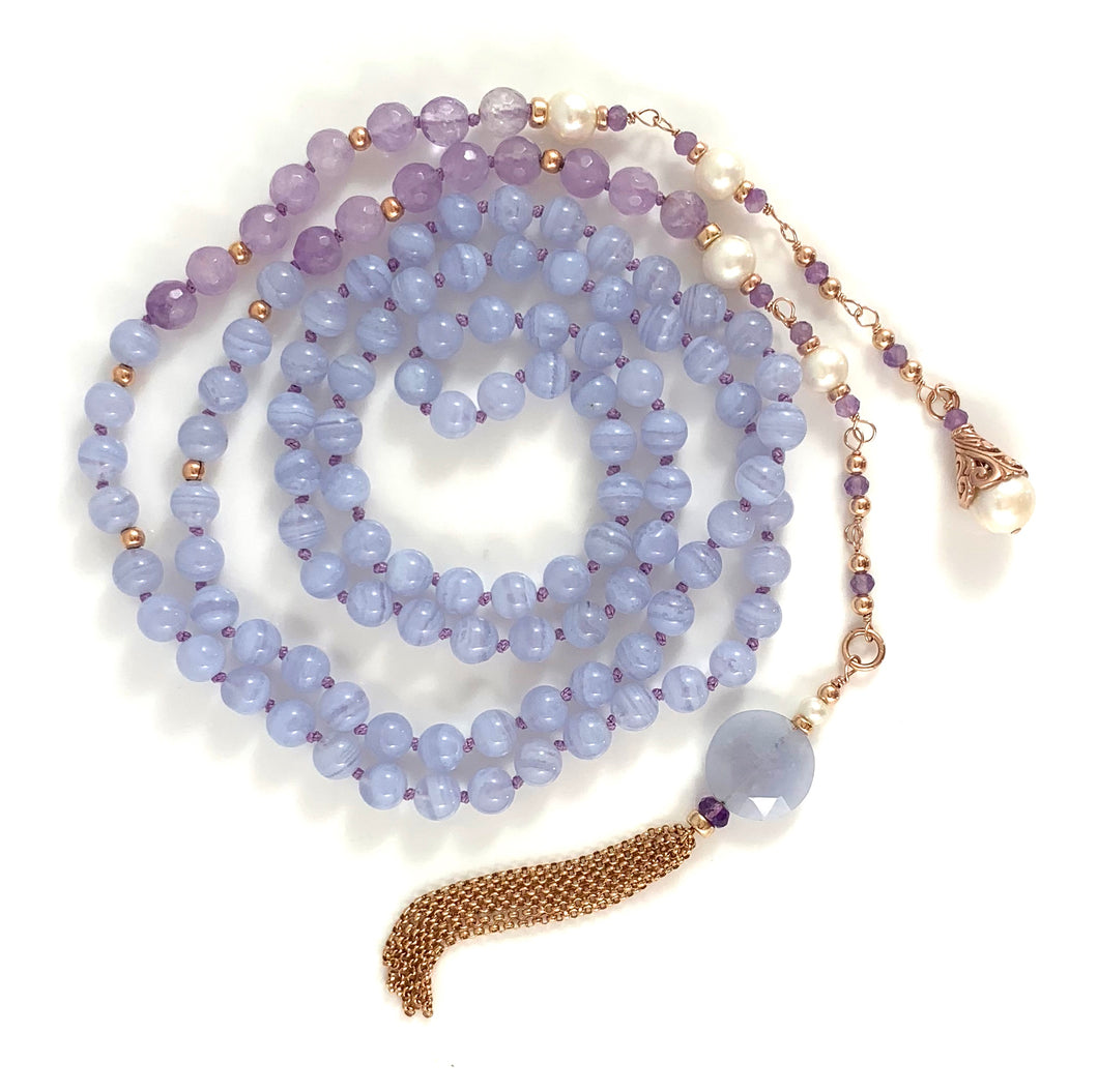 Aquarius Birthstone Handmade Amethyst Pearl 14k Gold Tassel Necklace