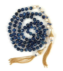 Melissa Handmade Kyanite Bead Tassel Necklace