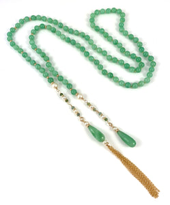 Handmade Beaded Lariat Necklace withJade, Green Tourmaline Pearl 14k Gold Tassel