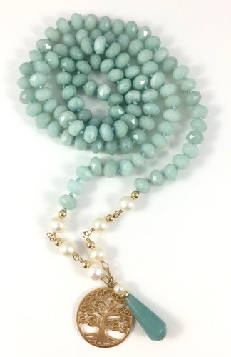 Handmade Mala Necklace Amazonite Pearl Gold Tree of Life Pendant