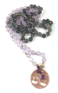 Handmade Lavender Bead Mala Necklace with Light Amethyst, Labradorite and Tree of Life Pendant
