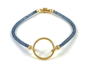 "Handmade Circle Icon Bracelet 7"" Blue"