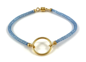 "Handmade Circle Icon Bracelet 7"" Light Blue"