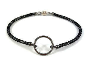 "Handmade Circle Icon Bracelet 7"" Black"