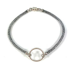 "Handmade Circle Icon Bracelet 7"" Platinum"