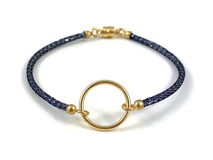 "Handmade Circle Icon Bracelet 7"" Navy"
