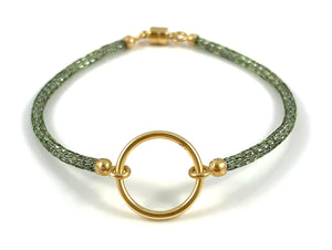 "Handmade Circle Icon Bracelet 7"" Emerald Green"