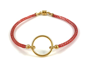 "Handmade Circle Icon Bracelet 7"" Red"