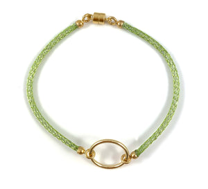 "Handmade Circle Icon Bracelet 7"" Lime Green"