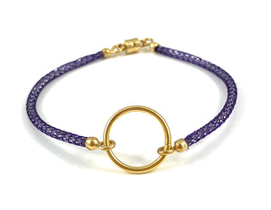 "Handmade Circle Icon Bracelet 7"" Purple"