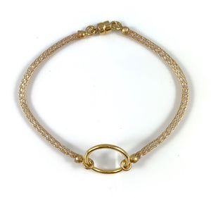 "Handmade Circle Icon Bracelet 7"" Gold"