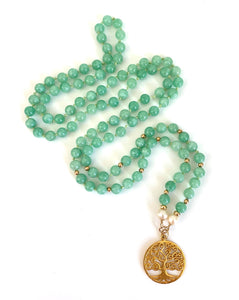 Burmese Jade Pearl Tree of Life Necklace