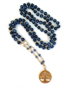 Kyanite Pearl Tree of Life Necklace