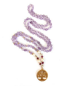 Light Amethyst Pearl Tree of Life Necklace