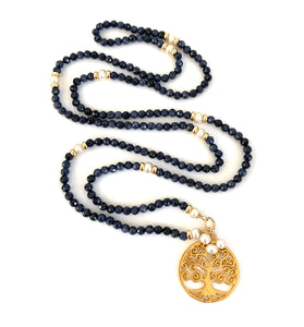 Blue Sapphire Pearl Tree of Life Necklace