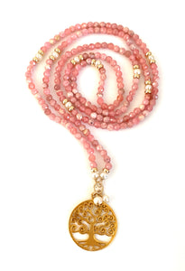 Rhodochrosite Pearl Tree of Life Necklace