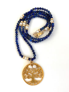 Lapis Lazuli Pearl Tree of Life Necklace