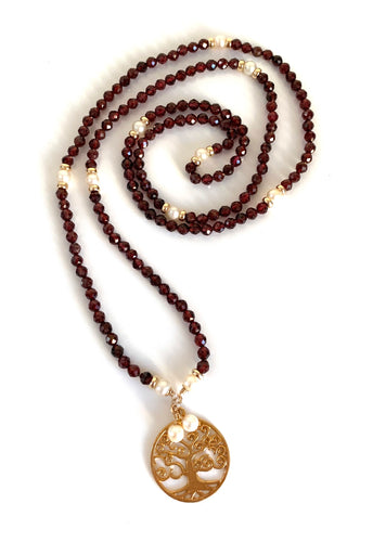 Garnet Pearl Tree of Life Necklace