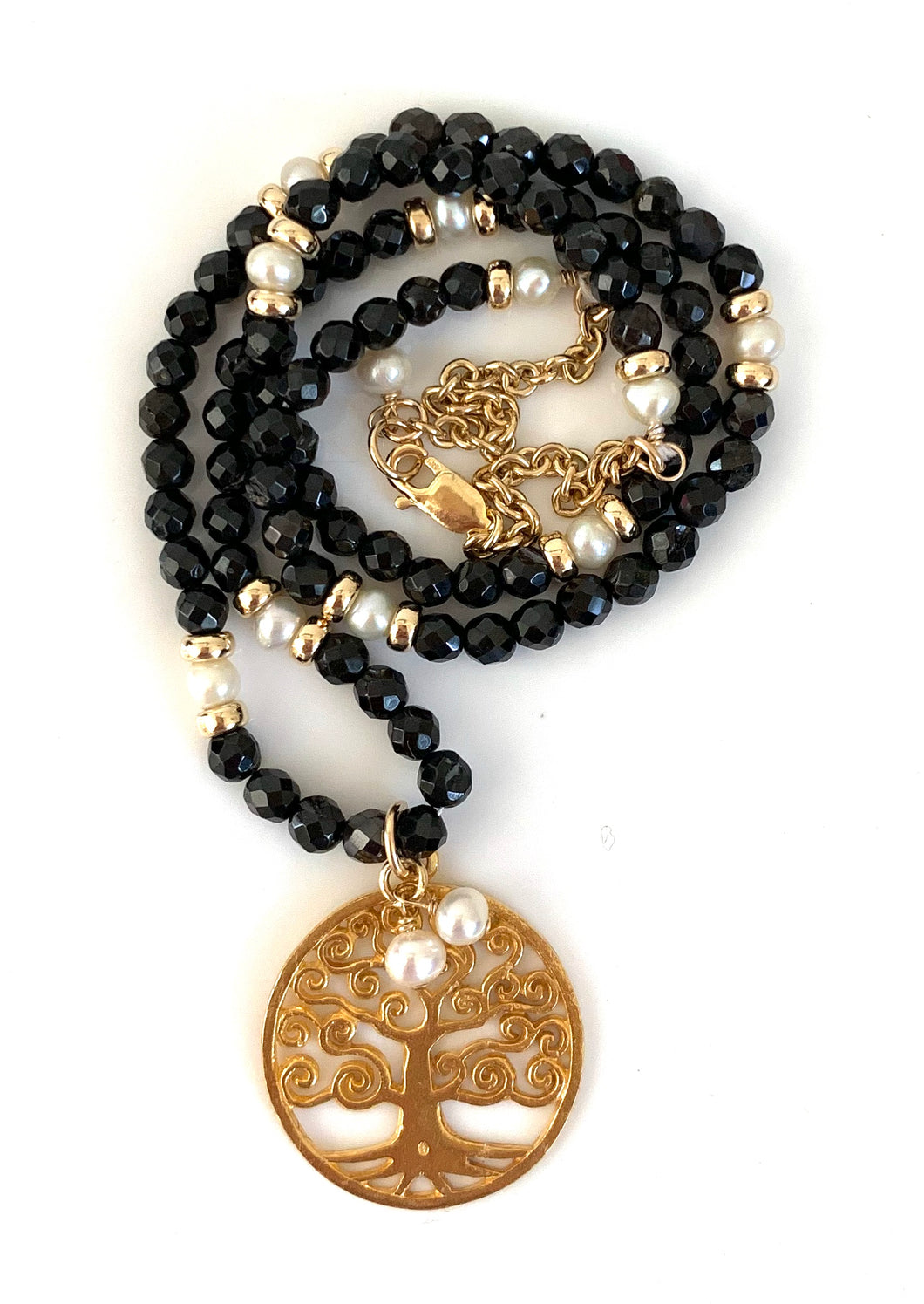Black Tourmaline Pearl Tree of Life Necklace